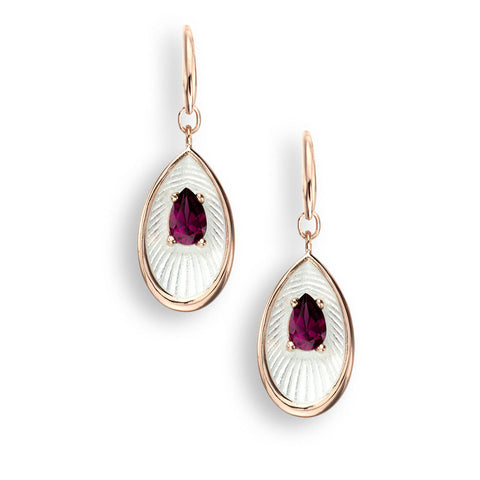 Nicole Barr - Rose Gold Plated Sterling Silver Rhodolite Wire Earrings NW0394SA-RG