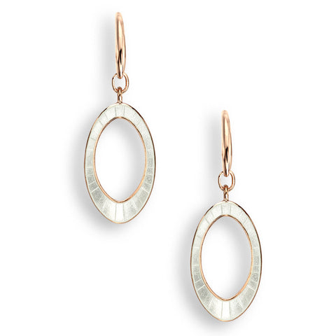 Nicole Barr - Rose Gold Plated Sterling Silver White Oval Wire Earrings NW0395B-RG