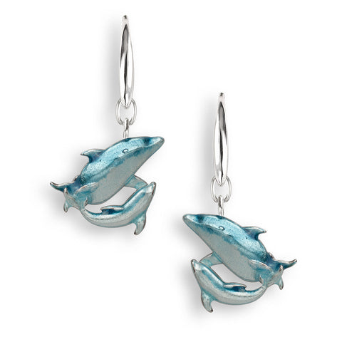 Nicole Barr - Sterling Silver Blue Dolphin Drop Earrings NW0398A 3503051