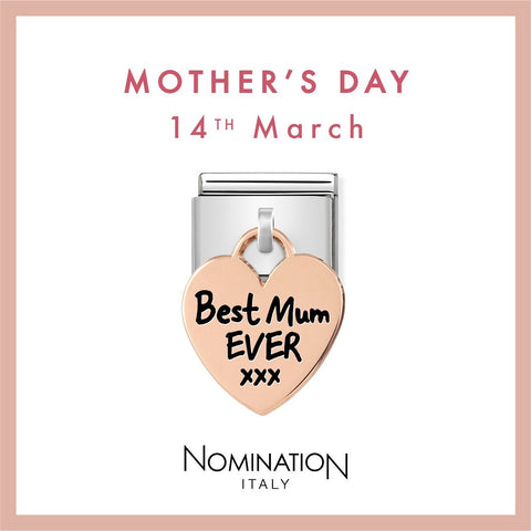Nomination Limited Edition 9ct Rose Gold Hanging Best Mum Ever Charm 431802 01