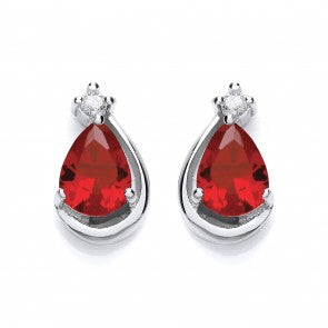 Purity 925 Sterling Silver & Red Cubic Zirconia Pear Shaped Stud Earrings P3628ES