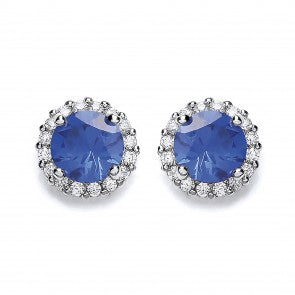 Purity 925 Sterling Silver & Blue Cubic Zirconia Stud Earrings P3692ES-1