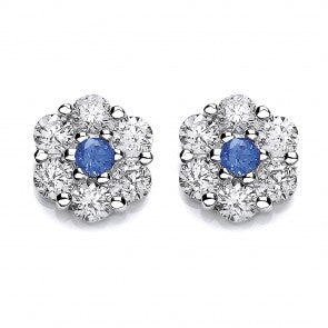 Purity 925 Sterling Silver & Blue CZ Cluster Stud Earrings P3701ES-1 2603181