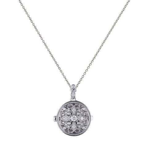 Diamonfire Round Medallion Filigree Locket P4613 4704012