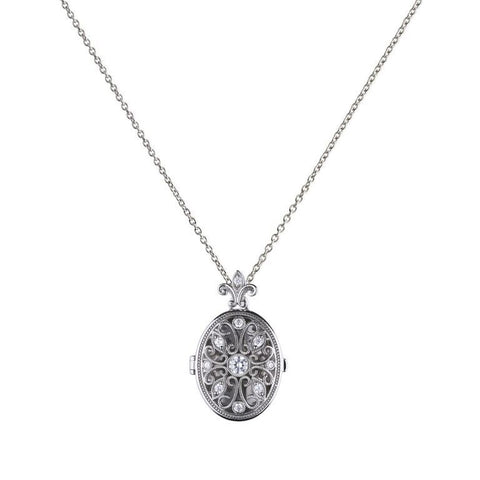 Diamonfire Oval Medallion Filigree Locket P4622 4704016