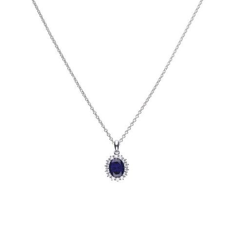 Diamonfire Oval Pave Pendant with Blue CZ P4658 4704018