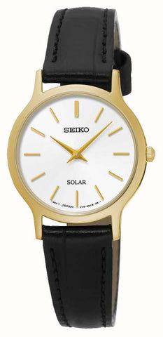 Seiko Black Leather Solar Ladies Watch SUP300P1