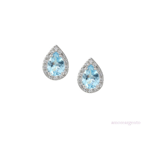 Amore Blue Topaz Peardrop Earrings 6008ESILCZ/SBT