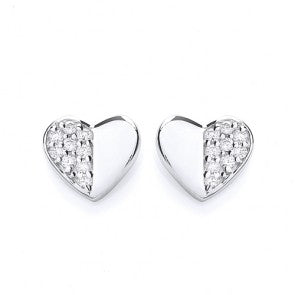 Purity 925 Sterling Silver & Cubic Zirconia Heart Shaped Stud Earrings PUR1520ES
