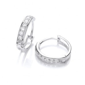 Purity 925 Sterling Silver & CZ Hinged Earrings PUR3073/3 0405127