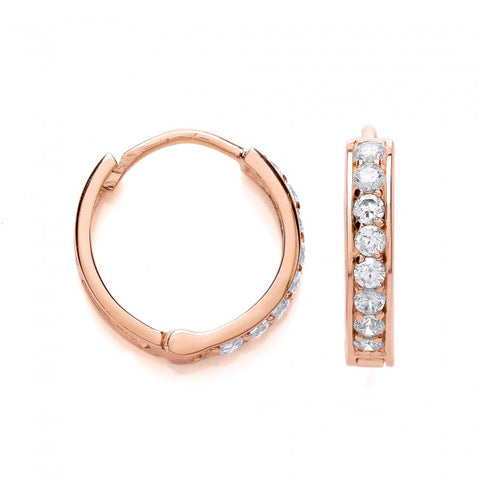 Purity 925 Rose Gold Plated & Cubic Zirconia Hinged Earrings PUR3610/1