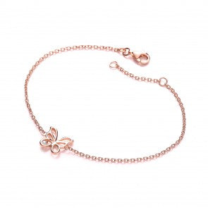 Purity 925 Rose Gold Plated & Cubic Zirconia Butterfly Bracelet PUR3612/1