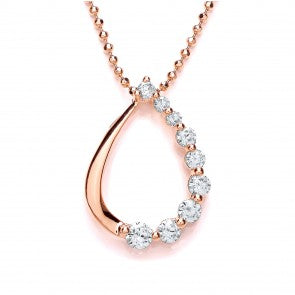 Purity 925 Rose Gold Plated Sterling Silver & CZ Open Pear Pendant PUR3709P