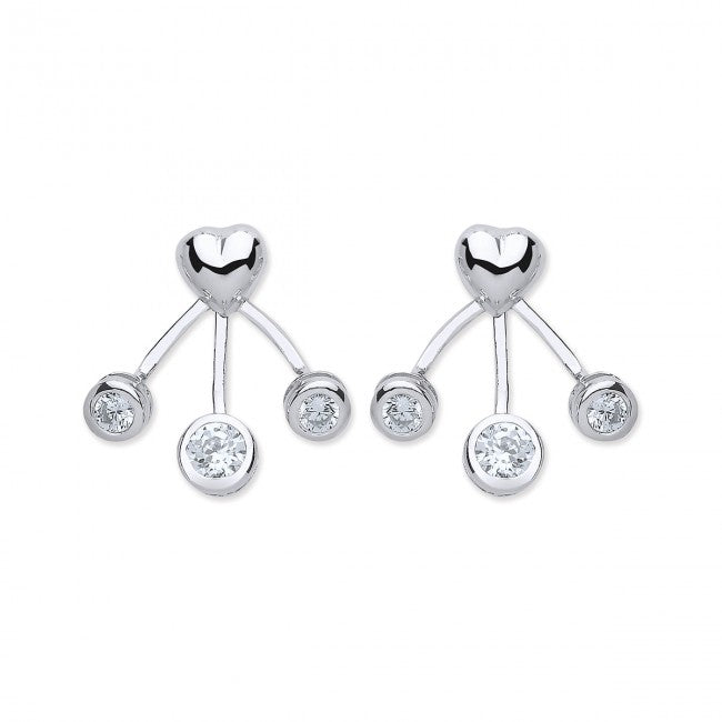 e5e349d85 Purity 925 Sterling Silver & Cubic Zirconia Heart Enhancer Earrings  PUR3791/1