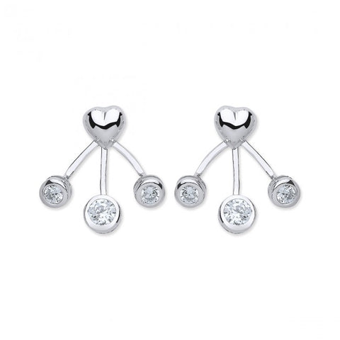 Purity 925 Sterling Silver & Cubic Zirconia Heart Enhancer Earrings PUR3791/1