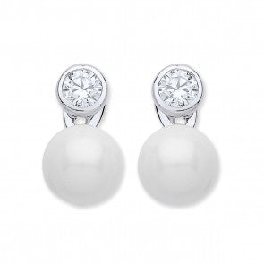 Purity 925 Sterling Silver & Imitation Pearl with CZ Earrings PUR3805/3