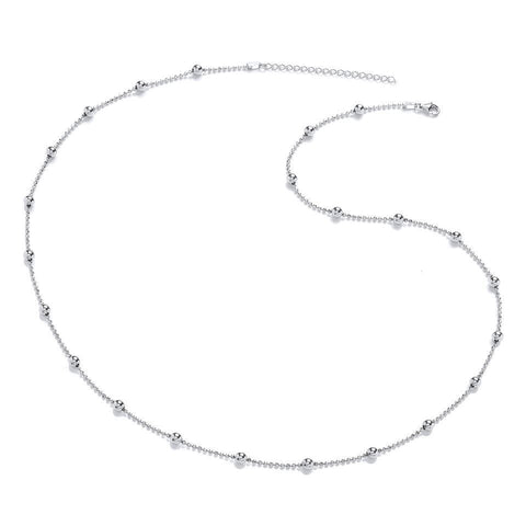 "Purity 925 22-24"" Sterling Silver Ball Necklace Chain P3718N-1"