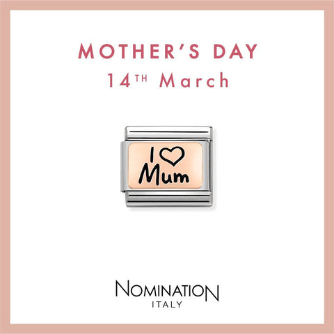 Nomination Limited Edition 9ct Rose Gold & Enamel I Love Mum Charm 430111 01