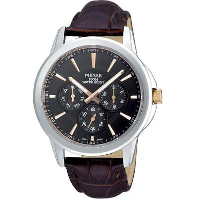Pulsar Gents Brown Leather Strap Watch PP6019 1005002