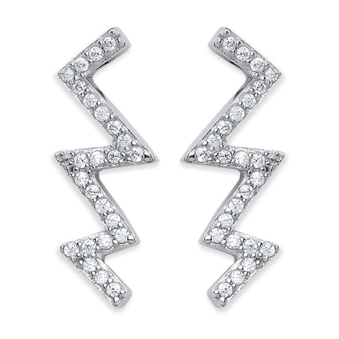 Purity 925 Sterling Silver & Cubic Zirconia Zigzag Stud Earrings PUR3861/3