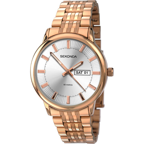 Sekonda Mens Rose Gold Plated Bracelet Watch 1185 1006257