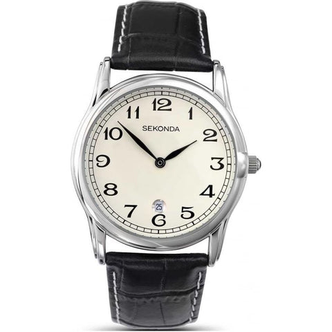 Sekonda Mens Black Leather Strap Watch 3017 1006059