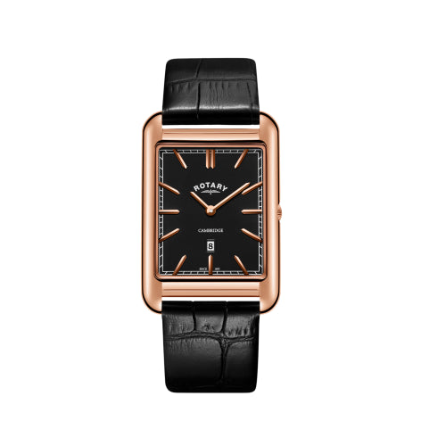 Rotary Cambridge Rose Gold Black Leather Strap Mens Watch GS05284/04