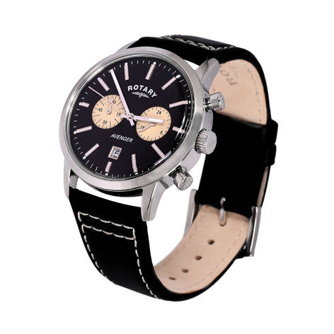 Rotary Mens Avenger Chrono Black Leather Strap Watch GS02730/04