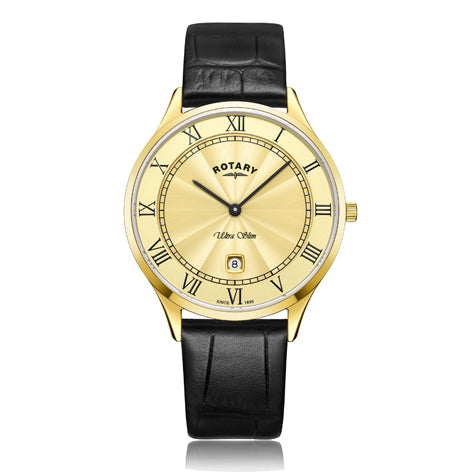 Rotary Ultra Slim Gold Plated Black Leather Strap Mens Watch GS08303/03