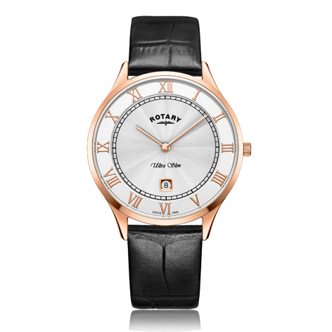 Rotary Ultra Slim Rose Gold Black Leather Strap Mens Watch GS08304/01