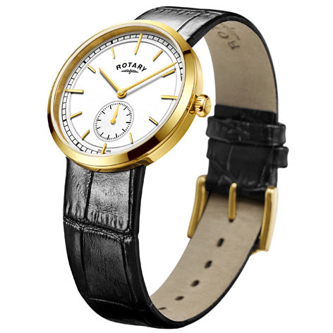 Rotary Mens Gold Plated Canterbury Black Leather Strap Watch GS05062/02