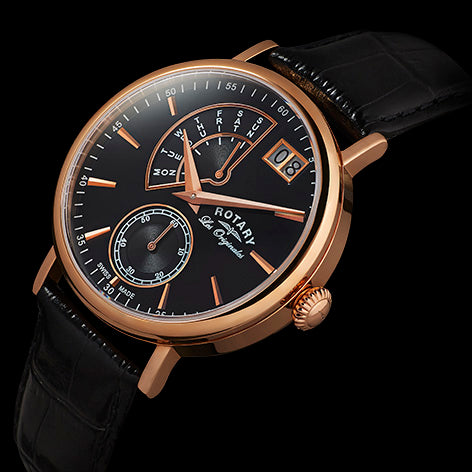 Rotary Les Originales Big Date Rose Gold Mens Watch GS90087/04