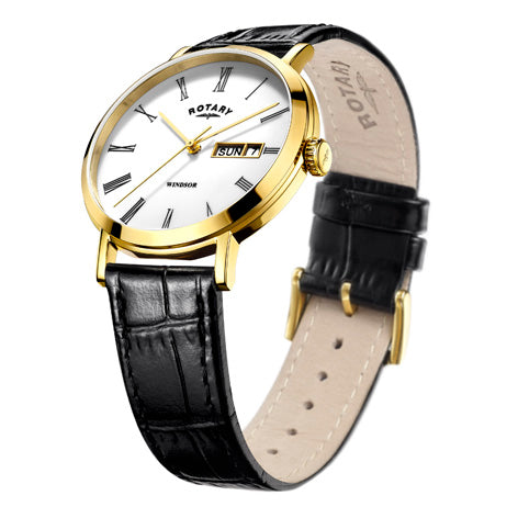 Rotary Mens Gold Plated Black Leather Strap Watch GS05303/01