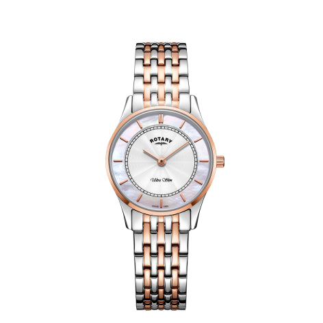 Rotary Ultra Slim Two Tone Rose Gold Ladies Watch LB08302/02