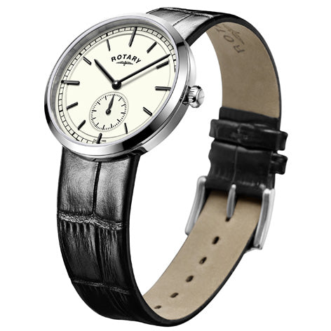 Rotary Mens Stainless Steel Canterbury Black Leather Strap Watch GS05060/32