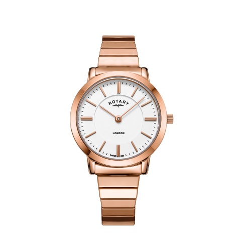 Rotary London Rose Gold Plated Bracelet Ladies Watch LB00767/02