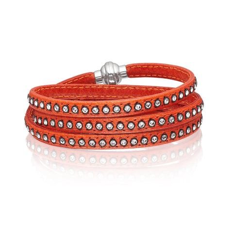 Sif Jakobs - Arezzo Orange Leather & White CZ 57cm Bracelet SJ-BR2359-AR/CZ/57 4005095 SALE