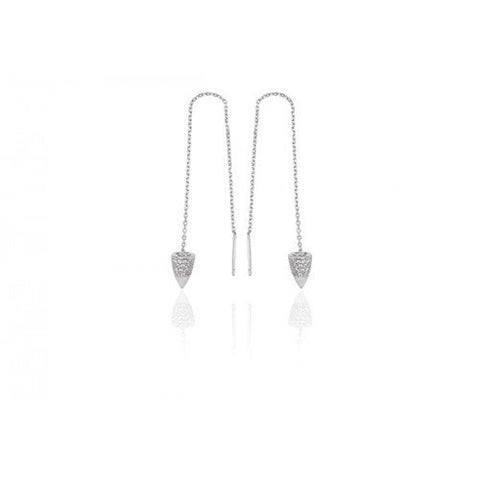 Sif Jakobs - Chieri Chain Sterling Silver with White CZ Long Earrings SJ-E0398-CZ 4003282