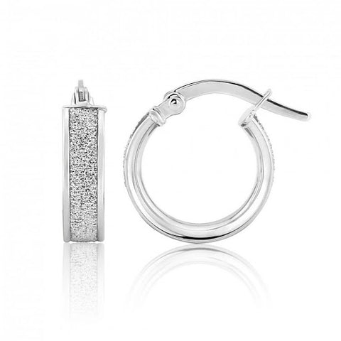 9ct White Gold Small Glitter Hoop Earrings 8H83W