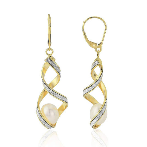 9ct Gold Glitter Pearl Drop Earrings 8H24QCP