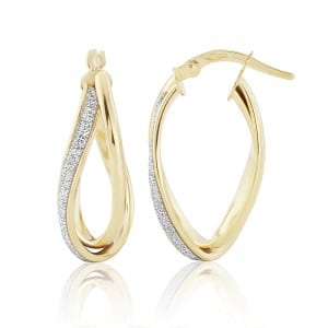 9ct Gold Glitter Twist Earrings 8H82Q 0305637
