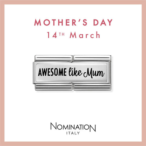 Nomination Limited Edition Silver & Enamel Awesome Like Mum Double Link Charm 330711 01