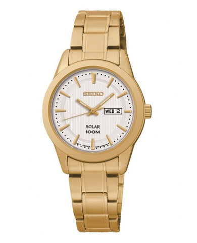 Seiko Solar White Face Gold Tone Day & Date Ladies Watch with Stainless Steel Bracelet SUT164P1