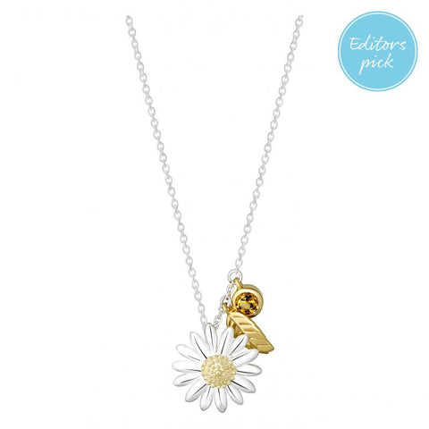 Daisy  Feather Drop 15mm Necklace N2016