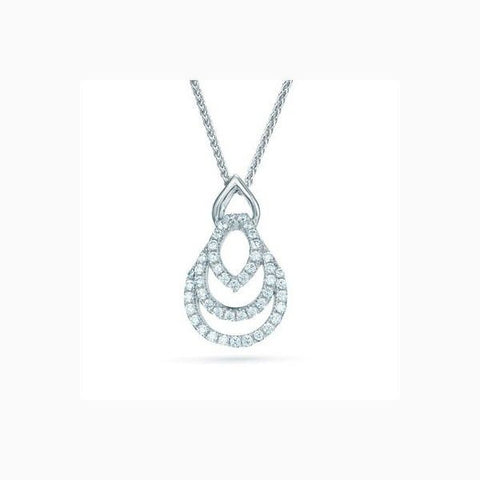 The Real Effect - Unique Three Tiered Sparkling Sterling Silver Pendant RE22764