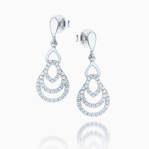 The Real Effect - Sterling Silver & Stone Set Triple Outline Teardrop Earrings RE22774