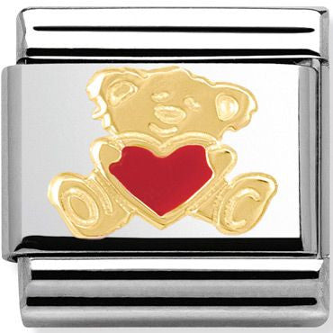Nomination 18ct Gold & Enamel Bear With Heart Charm 030253 32