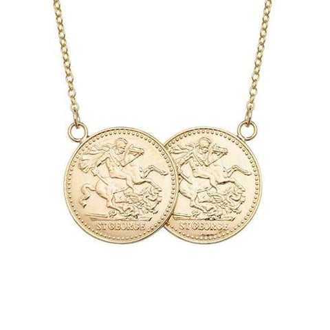 Large Two Coin Gold Plated Sterling Silver Necklace
