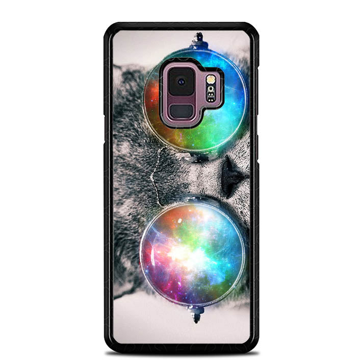 space cat glasses Z1622 Samsung Galaxy S9 Case
