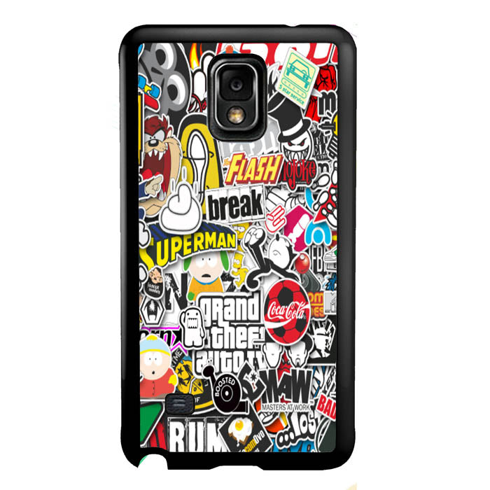 Grand Theft Auto Stickerbomb A1612 Samsung Galaxy Note 4 Case New Year Gifts 2020-Samsung Galaxy Note 4 Cases-Recovery Case